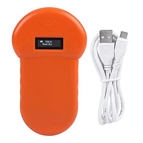 BBCZ Haustier Mikrochip Scanner,Handheld 134,2 kHz ID Chip Tier Lesegerät, LCD ISO Tier-Kennzeichnung Chip Leser RFID Hundemikrochip für FDX-B-Scanner,Haustier Mikrochip Lesegerät für Tiere(Orange)