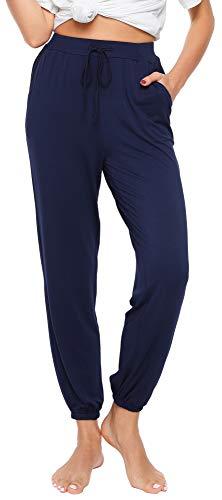 WiWi Women's Bamboo Loose Yoga Bottoms Lightweight Jogger Pants Plus Size Pajamas Pant Lounge Sleepwear S-4X, Navy, Medium