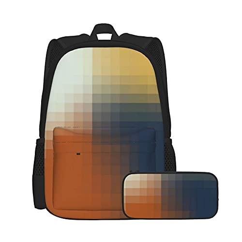 Set zaino casual e astuccio per computer portatile e astuccio combinato, zaino da lavoro e studio e borsa cosmetica alla moda, motivo arancione, blu, giallo, beige
