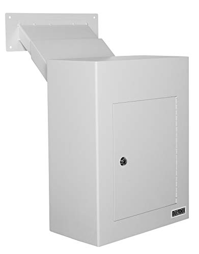 DuraBox D700 Through The Wall Drop Box w/Adjustable Chute Deposit Safe Mail Box (Grey)