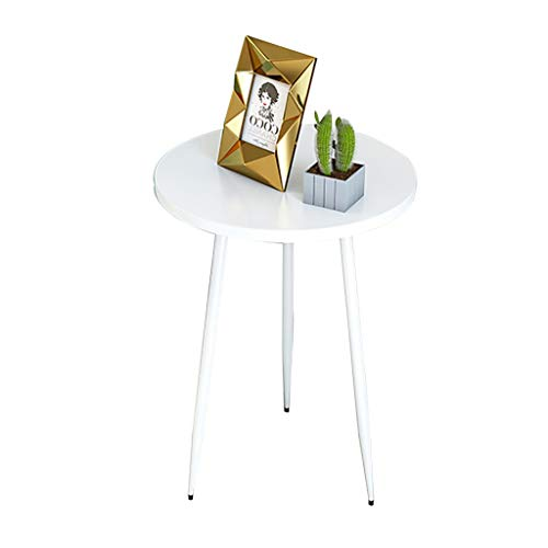 ZWJLIZI Coffee table, Nordic side table/corner table, small coffee table in the living room, white multifunctional iron round table (Size : 50X55CM)