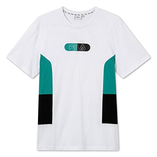 Fila Jalen Blocked Camiseta, Bright White-Alhambra-Black, M para Hombre