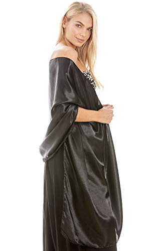 Central Chic Zwart Satijn Sjaal Bruiloft Plus Size Wikkel L-XL