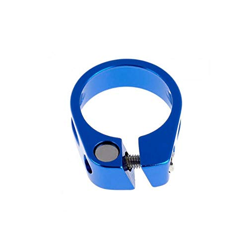 Abrazaderas de Poste de Sillín de Bicicleta Metal Ultraligero Cerradura de Bicicleta de Asiento Parte de Ciclismo Tija Clip(34.9mm-Azul)