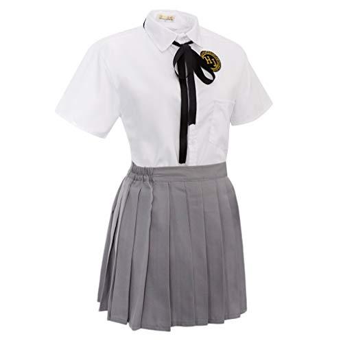 Uniforme de Colegiala Japonesa Camiseta de Manga Corta con Falda Plisada Corbata de Lazo Traje de Disfraces Cosplay - M