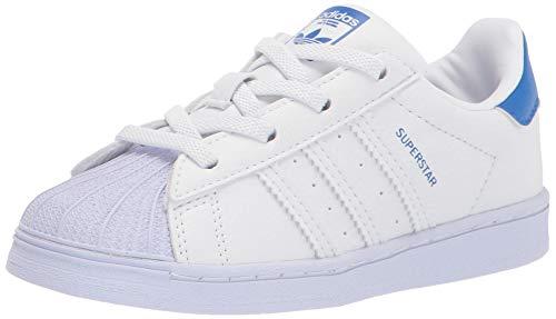 adidas Originals Baby Superstar Elastic Sneaker, White/White/Blue, 5 Toddler US