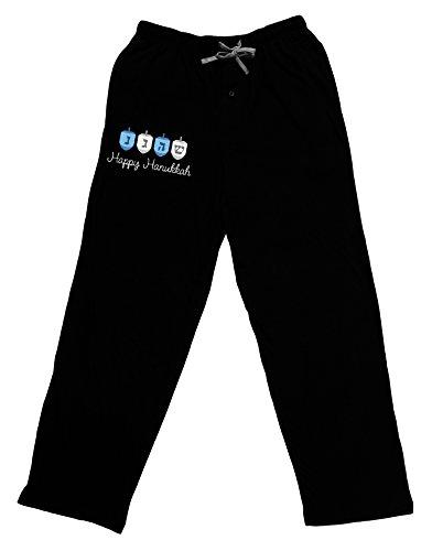 TOOLOUD Happy Hanukkah Blue Dreidels Adult Lounge Pants - Black- XL