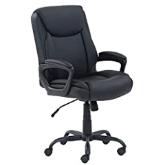Comfortable office chair upholstered in black bonded leather Padded seat and back for all-day comfort Pneumatic seat-height adjustment; dual-wheel casters 275-pound maximum weight capacity; assembly instructions included Measures 24.02 inches deep by...