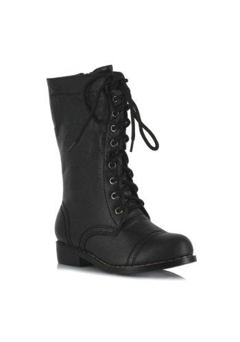 Ellie Shoes 1″ Combat Boots. Childrens. XL BLK