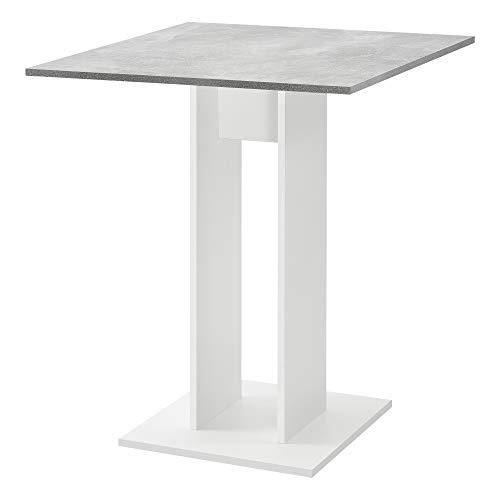 [en.casa] Küchentisch Quadratisch 65 x 65 x 78 cm Säulentisch Esszimmertisch aus Spanplatte Speisetisch Tisch Weiß/Beton-Optik