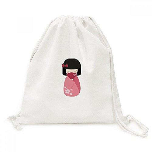 DIYthinker Roze Kimono Fan Sakura Japan Canvas Trekkoord Rugzak Reizen Shopping Tassen