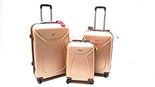 SET 3 TROLLEY VALIGE ABS RIGIDO 4 RUOTE COVERI YOU YOUNG SET TROLLEY RIGIDI CON TROLLEY RYANAIR BAGAGLIO A MANO IDONEO cm.55x40x20 (CHAMPAGNE)