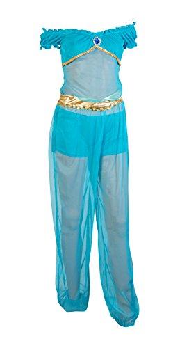 Traje del vestido de Emmas Wardrobe Princesa árabe Fantasía Azul Incluye pantalones, pantalones cortos azules y superior azul con Gem - traje árabe o traje de Genie para Halloween - Tamaños del Reino Unido 6-12