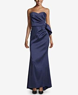 XSCAPE Womens Navy Bow Back Satin Gown Strapless Full-Length Evening Dress Plus US Size: 10