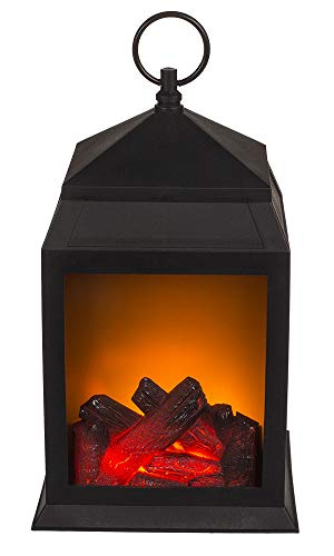 Kunststoff-Laterne, Kaminoptik mit 6 LED, ca. 29 x 16 cm, in Geschenkbox, für 2 Batterien (C)