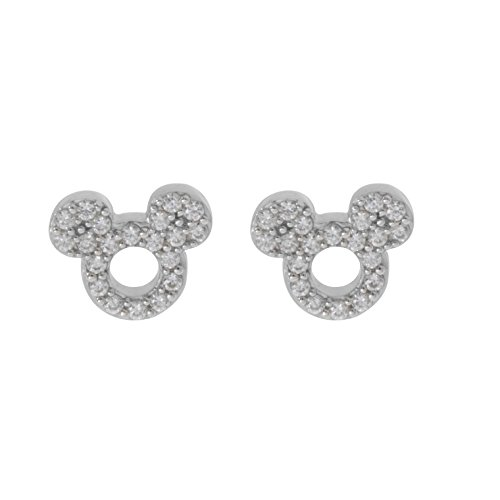 Disney Mickey Mouse Women Jewelry, Sterling Silver Clear Cubic Zirconia and Silver Stud Earrings