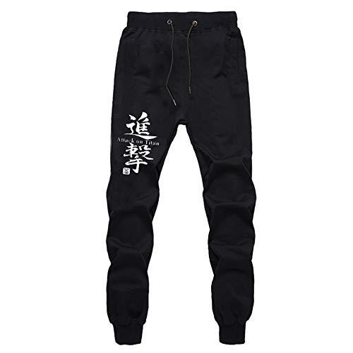 Attack On Titan Anime Printed Sweatpant Lounge Pants Trousers Hosen Herren Jogginghose Damen Baumwolle Sport Hose Schwarz Mit Seitentaschen M