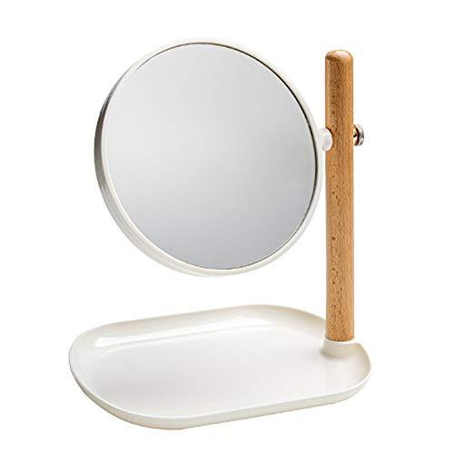 Espejo De Maquillaje Con Soporte De Madera De Pino, Base De Almacenamiento Grande, Espejo De Doble Cara Giratorio 360°, Aumento De 3 Veces, De Pie, Espejo De Princesa Niña, Para Tocador De Dormitori