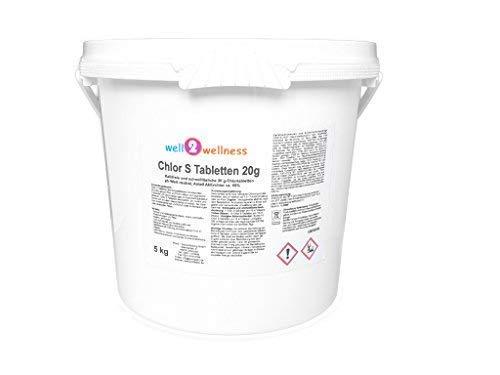 well2wellness Chlor S Tabletten - schnell lösliche Chlortabletten 20g / Chlortabs 20g, 5,0 kg