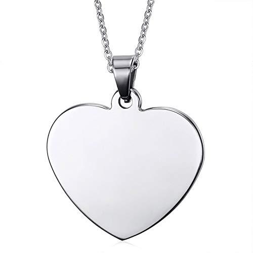 YAMAO Hombre Collar,Collar de Acero Inoxidable con Colgante en Forma de Corazón para Mujer Hombre