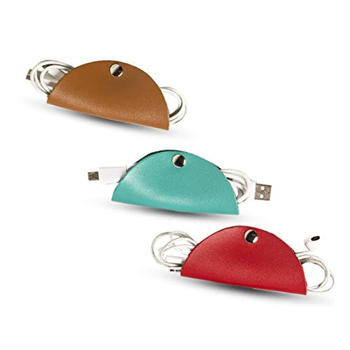 Leather-Cord-Organizer,Puiuisoul Cord Taco Trio Charger Earphone Wire Fastening Ties