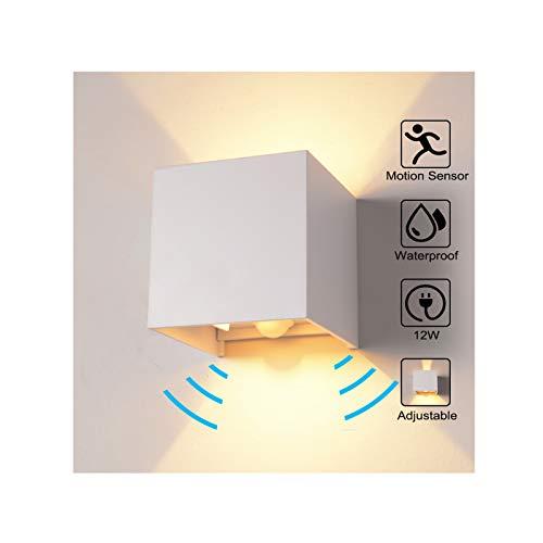 Wandleuchte Bewegungsmelder Aussen/Bewegungsmelder Innen LED Wandlampe, 12W Warmes Licht Wasserdicht Verstellbare Aussenlampe, Wandleuchte Sensor für Garten/Flur/Weg Veranda Hell (Weiß)
