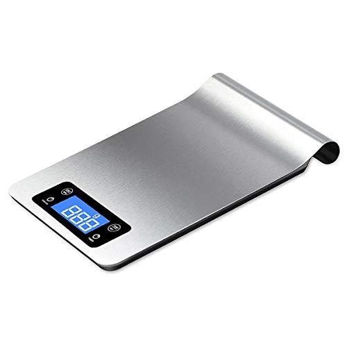 TankerStreet 5kg/1g Digital Báscula de Cocina Electrónico Acero Inoxidable Balanza de Precisión para Alimentos Función de Tara Pantalla LCD Puede Colgar para Peso Temporizador Temperatura 18x40x1.5cm