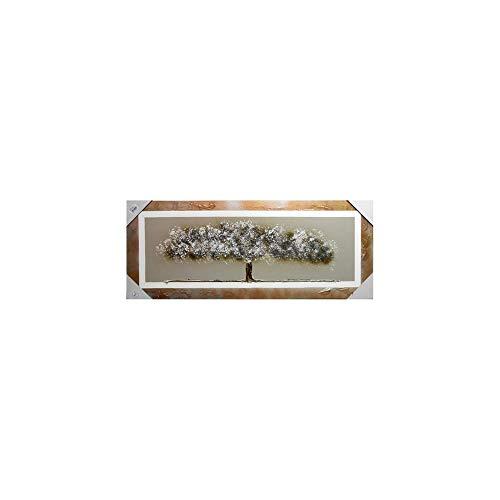 Arcibold Home Diseno arbol de Vida, Decorativo, Moderno - 48x118 cm - Color Blanco, Cuadro arbol de la Vida Blanco Pintado a Mano, oleos acrilicos y ecologicos.
