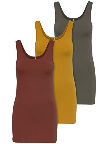 ONLY 3er Pack Damen Oberteile Basic Tank Tops weiß, schwarz, grau, blau, Creme Frauen Shirt lang Sommer Shirts Top 15201465 (XL, Farbmix 3)