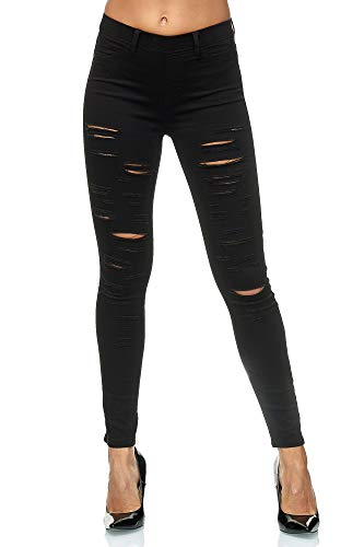Elara Damen Hose Zerrissen Destroyed Elements Chunkyrayan A89 Black-42 (XL)