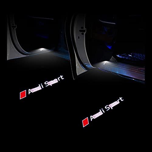 Luce della portiera dell'auto 2pcs LED Car Door Benvenuto Light LOGH Shadow Lampada compatibile con tutte le serie Audi (2000-2019) A1 A3 A4 A5 A6 A8 A8 R8 Q3 Q5 Q7 Q8 Q8 TT Decorazione personalizzata