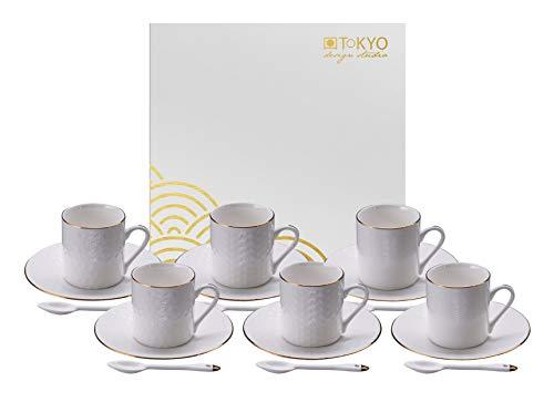TOKYO design studio Nippon White Espresso-Set weiß, 18-TLG, mit Gold-Rand, 6X Espresso-Tassen mit Untertassen und Löffeln, asiatisches Porzellan, Japanisches Design, inkl. Geschenk-Verpackung
