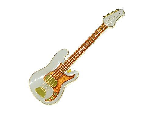 Miniblings E-Bass Pin Brosche Instrument Gitarre Bassist Weiß Mini Bass - Handmade Modeschmuck I Anstecknadel Button Pins
