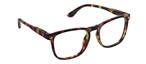 Peepers by PeeperSpecs Dylan Square Reading Glasses, Tortoise - Focus Blue Light Filtering Lenses, 53 mm + 2.25