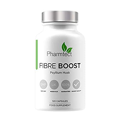 Fibre Boost Psyllium Husk Capsules - Highest Strength 1000mg for Effective Cleanliness -  100% Pure Plantago Ovata Plant Seeds - Fibre Boost Health & Support - 120 Capsules UK Made