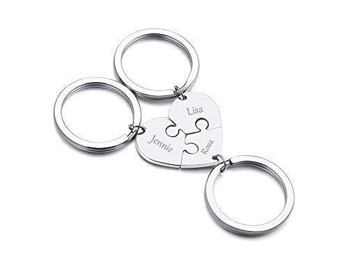XUANPAI Customized Personalized 3 Pieces Heart Keyrings Custom Engraved...