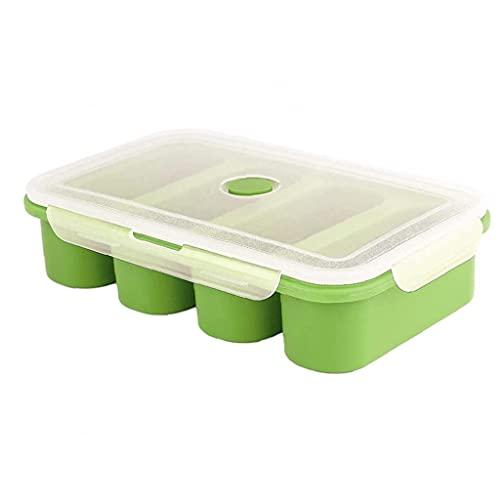 Eaarliyam Stampi del Contenitore del congelamento del Cibo del cubo della zuppa di Silicone con Il Coperchio 4 cubi per pasto Salsa Verde