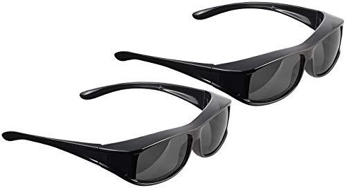 PEARL Überziehsonnenbrillen: 2er-Set Überzieh-Sonnenbrillen Day Vision Pro für Brillenträger (Überbrille für Brillenträger)
