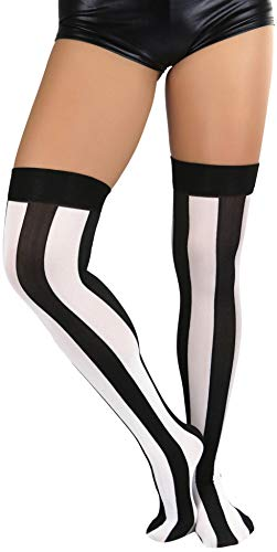 ToBeInStyle Women's Wide Vertical Striped Thigh Hi Stockings - One...