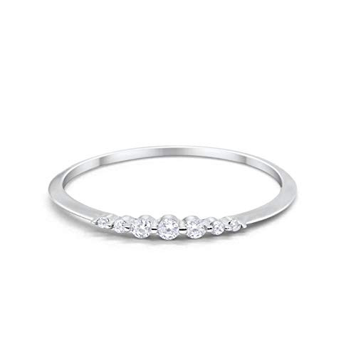 Blue Apple Co. Thin Half Eternity Wedding 2mm Band Ring Round Simulated Cubic Zirconia 925 Sterling Silver Size-9