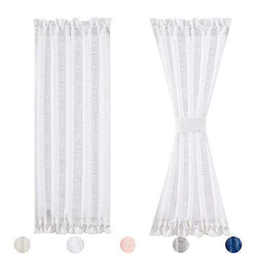 """Fmfunctex Side Light Door Panel Curtains White72-inch Long Linen Texture Semi Sheer French Door Panels for Front Door Glass Door Window Drapes 24"""" w x 2 Pack"""