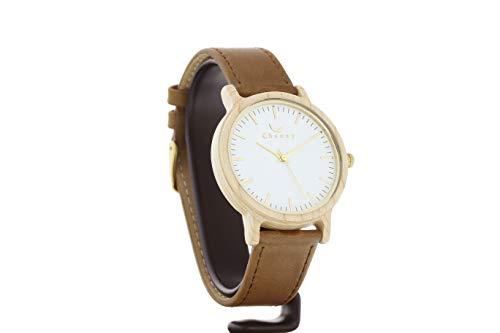 Reloj Tofino de CWA de Arce en Color marrón, Mecanismo de Cuarzo japonés Miyota, Reloj de Madera auténtica con Correa de Cambio, Reloj de Pulsera con Esfera de Madera auténtica