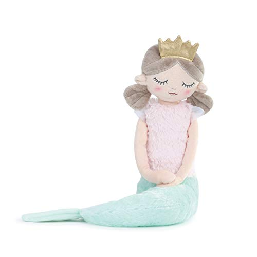 DEMDACO Charming Crowned Mermaid Soft Pastel Green 13 inch Plush Fabric Stuffed Toy