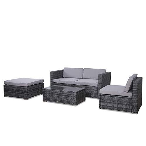 SVITA Poly Rattan Lounge California Gartenset Sofa Garnitur Polyrattan Gartenmöbel Farbwahl (Grau) - 7