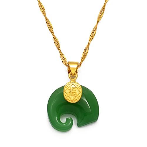 Elementos chinos y collares con colgante de elefante, joyería de talismán protector de piedra verde, estilo chino