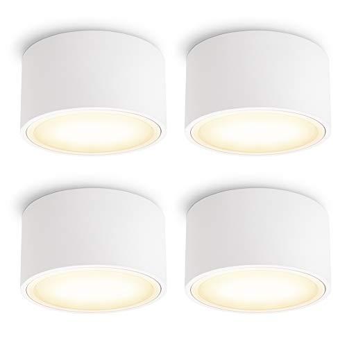 4 Stück SSC-LUXon CELI-X Aufbauleuchte LED flach mit schöner Lichtfläche - LED GX53 warmweiß 3W 230V - Aufbauspot weiß rund