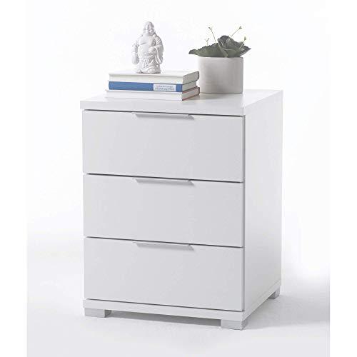 Universal Nachttisch in Weiß - Moderner Nachtschrank mit drei Schubladen für Ihr Boxspringbett - 46 x 61 x 42 cm (B/H/T)