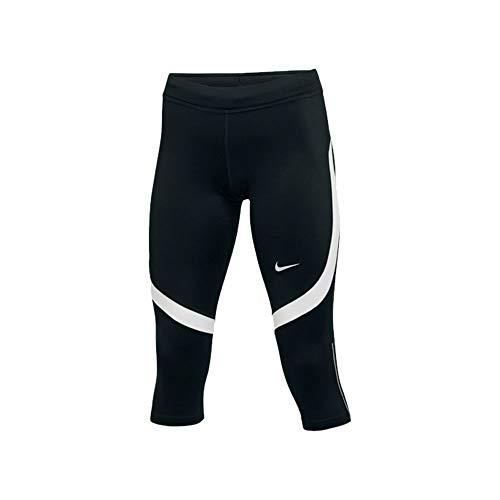 Nike Womens Dri-Fit Power Stock Race Day Capri Leggings (Small, Black/White)