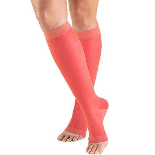 Truform Sheer Compression Stockings, 15-20 mmHg, Women's Knee High Length, Open Toe, 20 Denier, Pink, Large