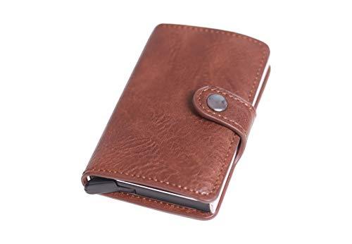 OMEI Funda para tarjetas de crédito, cartera fina con compartimento para monedas, bloqueo RFID, tarjetero para tarjetas de crédito, clips de dinero, tarjetero para hombre, de OMEI, color negro
